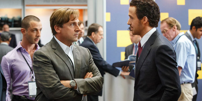 Steve Carell y Ryan Gosling, en 'The Big Short' (La gran apuesta)