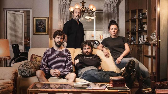 Javier Cámara, Miren Ibarguren, Julián López y Gorka Otxoa, en 'Fe de etarras', en Histerias de Cine